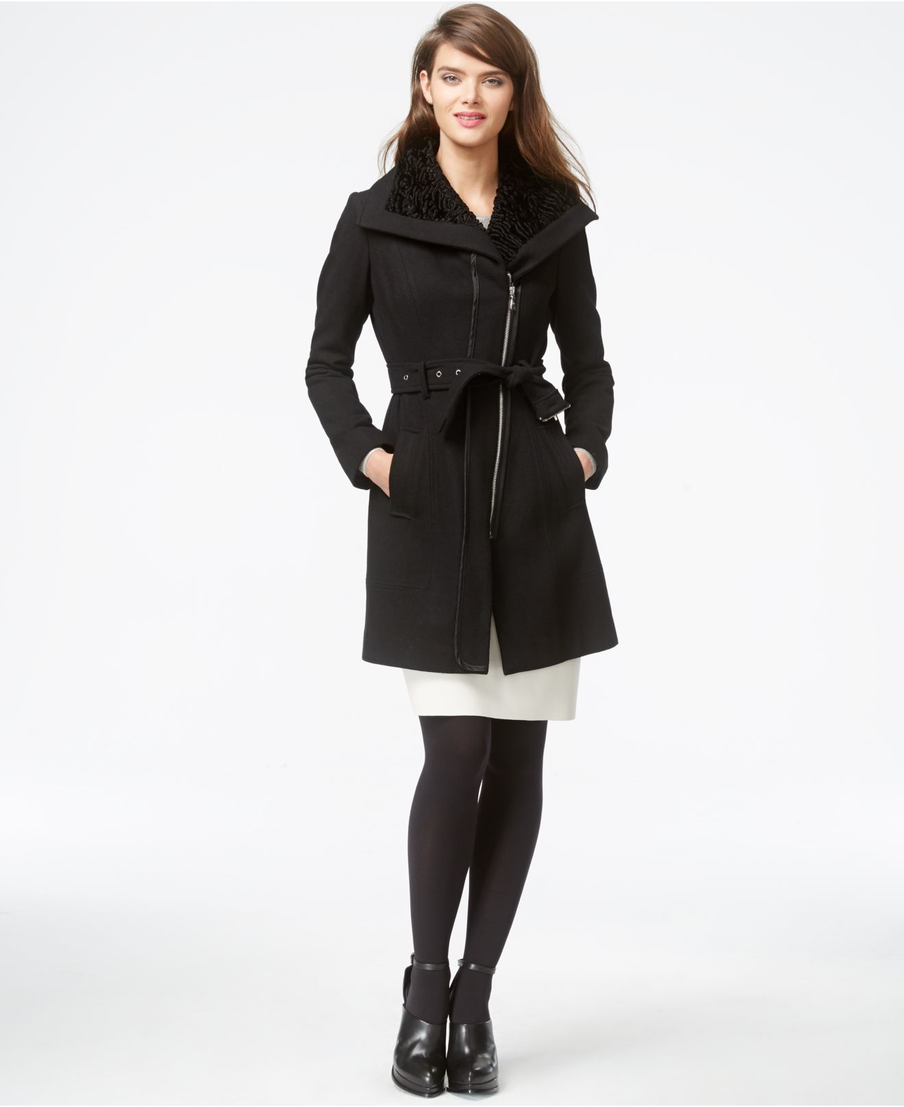57461b3f6e63 Lyst - Guess Faux-fur-collar Asymmetrical-zip Coat in Black