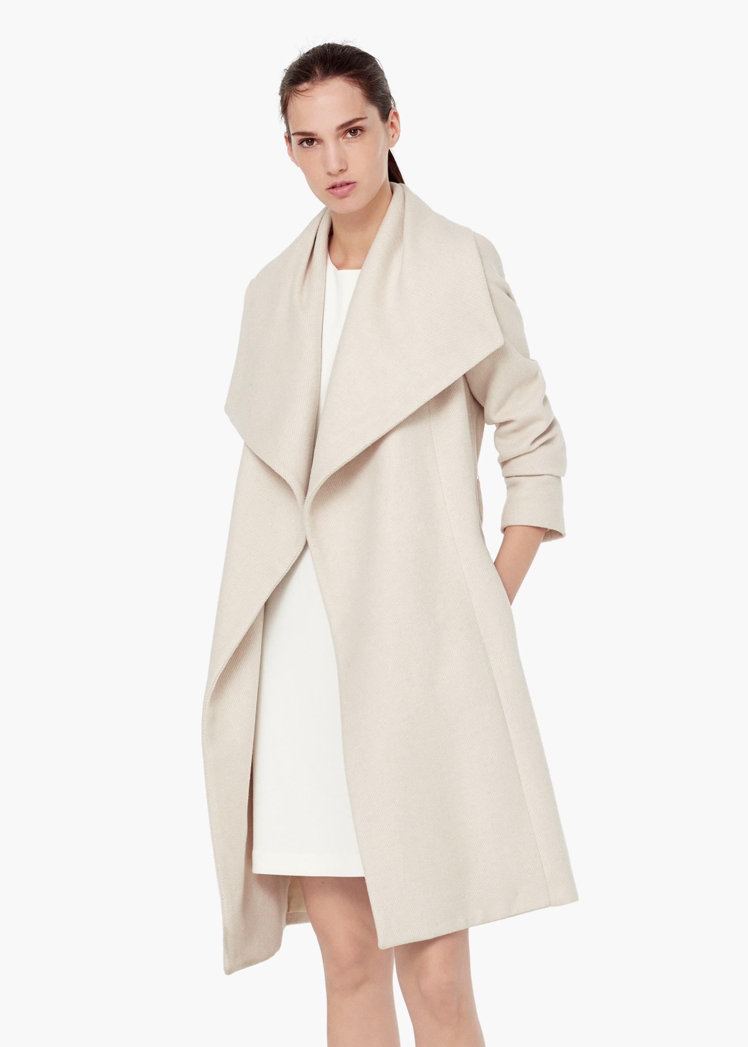 Mango Lapels Wool Coat in White | Lyst