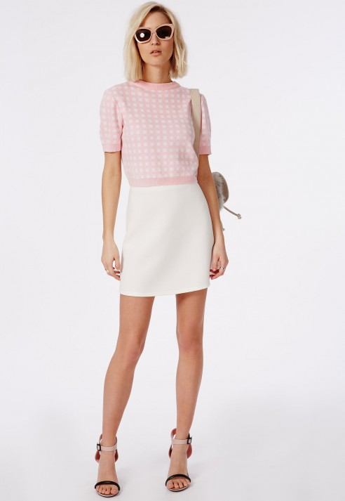 Missguided Short Sleeve Gingham Crop Sweater Pale Pink in Pink   Lyst