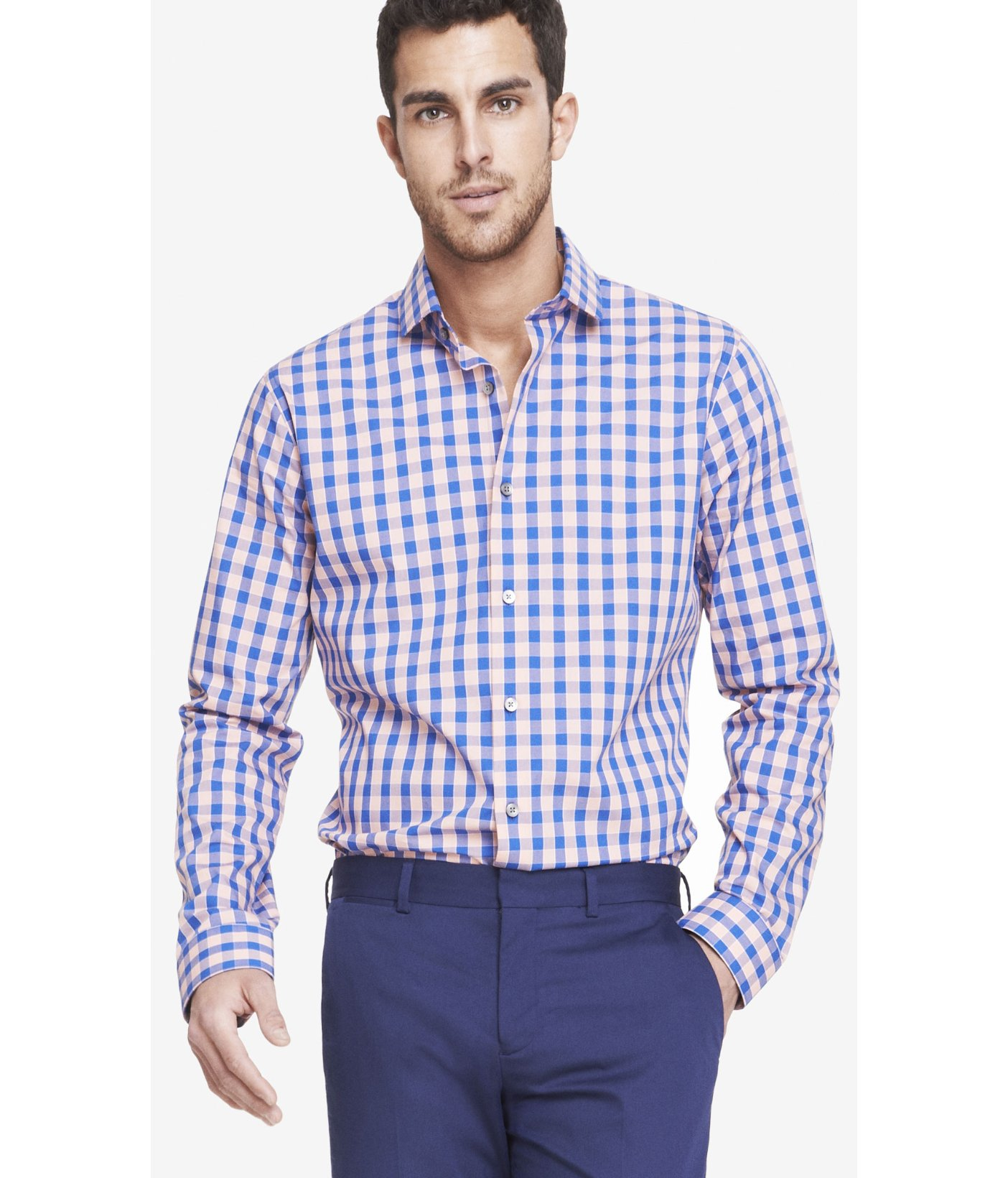 lyst express extra slim small check dress shirt in pink