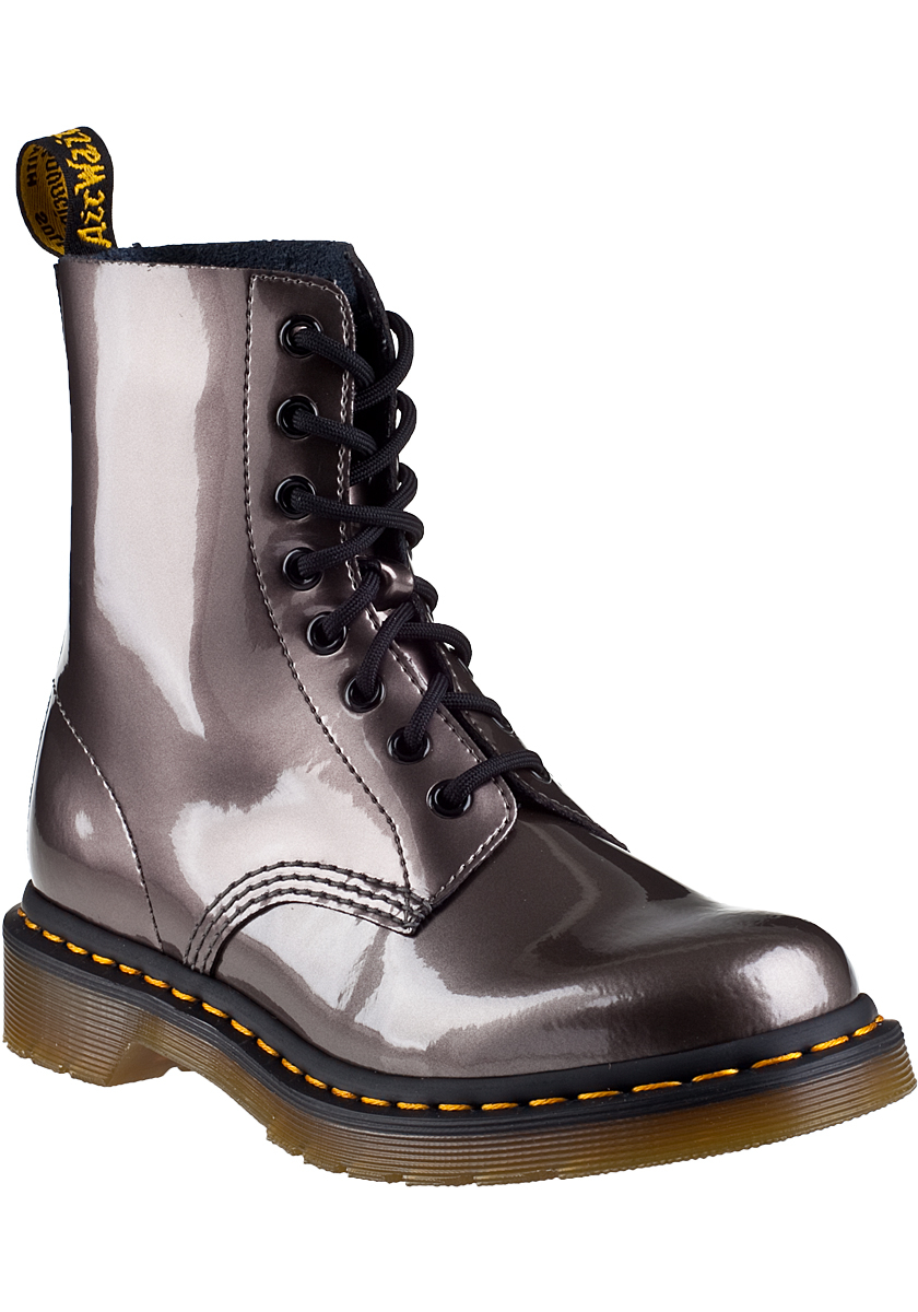 dr martens pascal lace up boot pewter leather in metallic. Black Bedroom Furniture Sets. Home Design Ideas