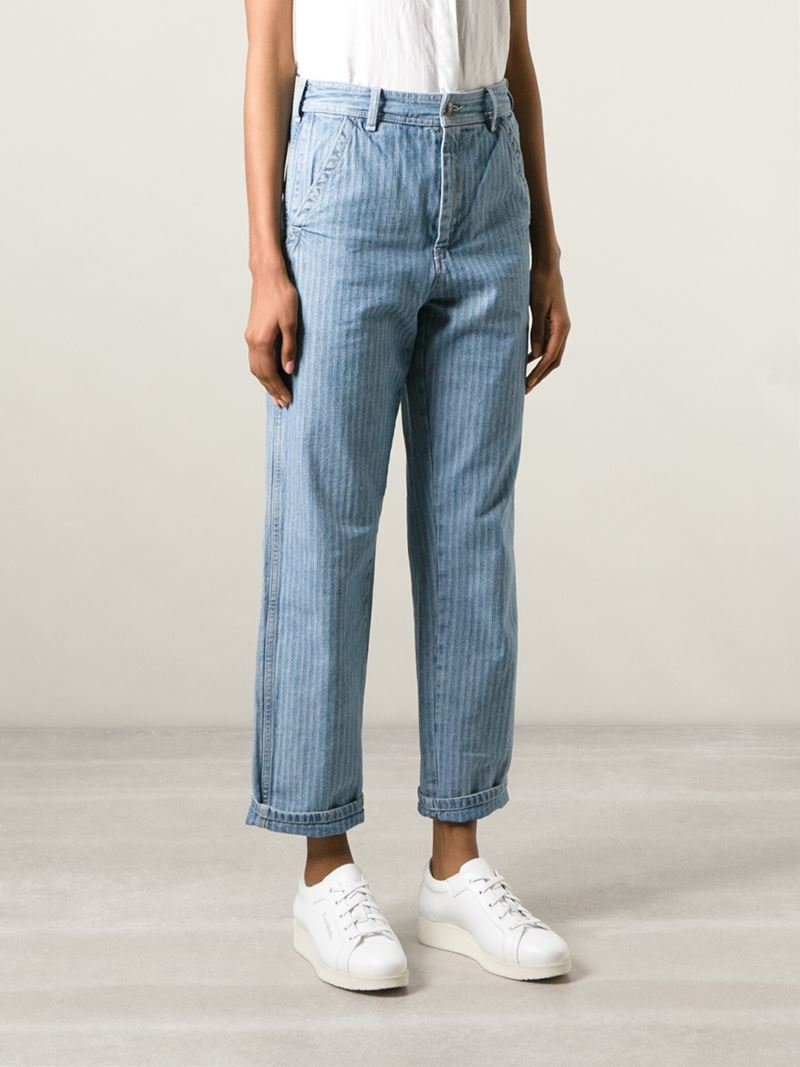 See by chloé Striped Boyfriend Jeans in Blue | Lyst