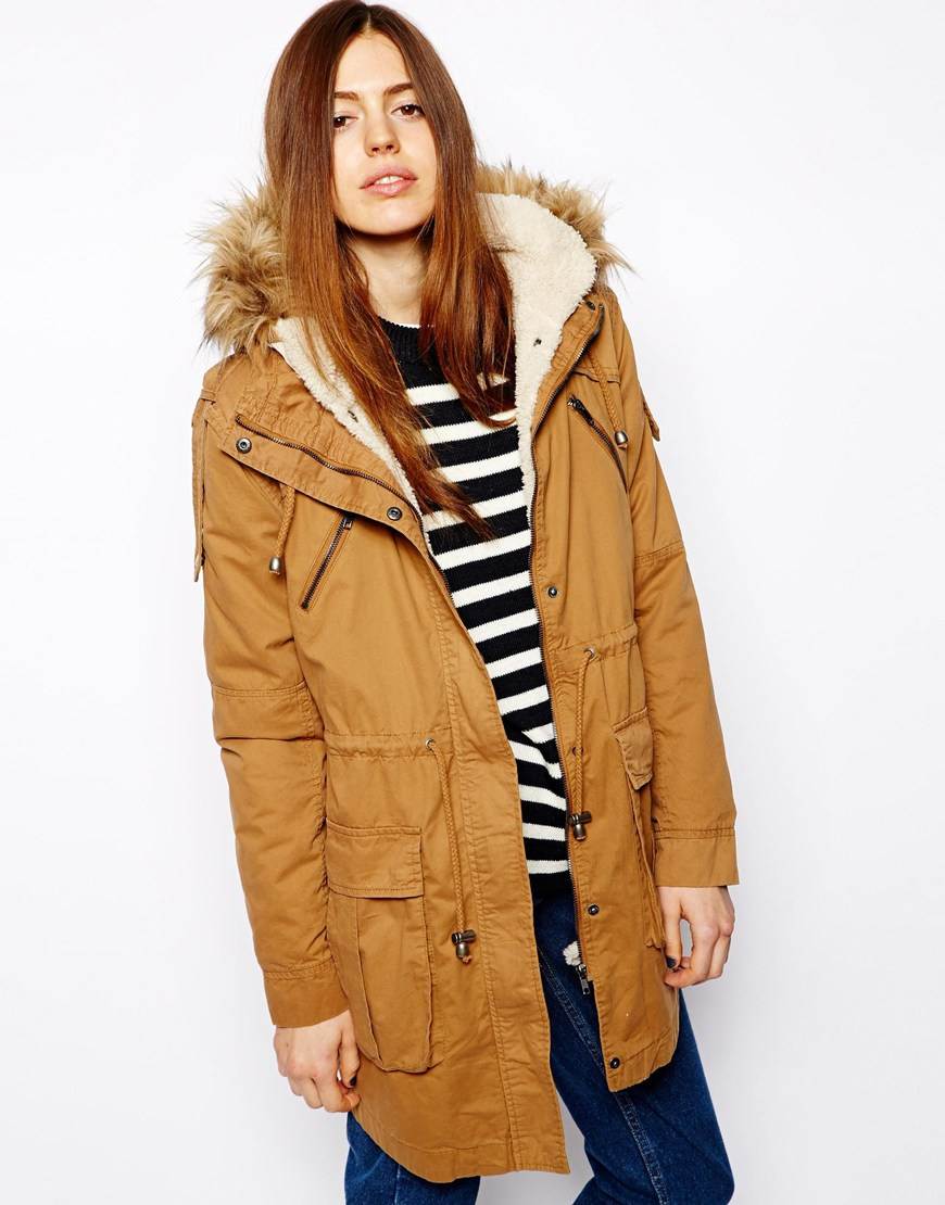 Asos Faux Fur Hooded Detachable Lined Parka in Yellow | Lyst