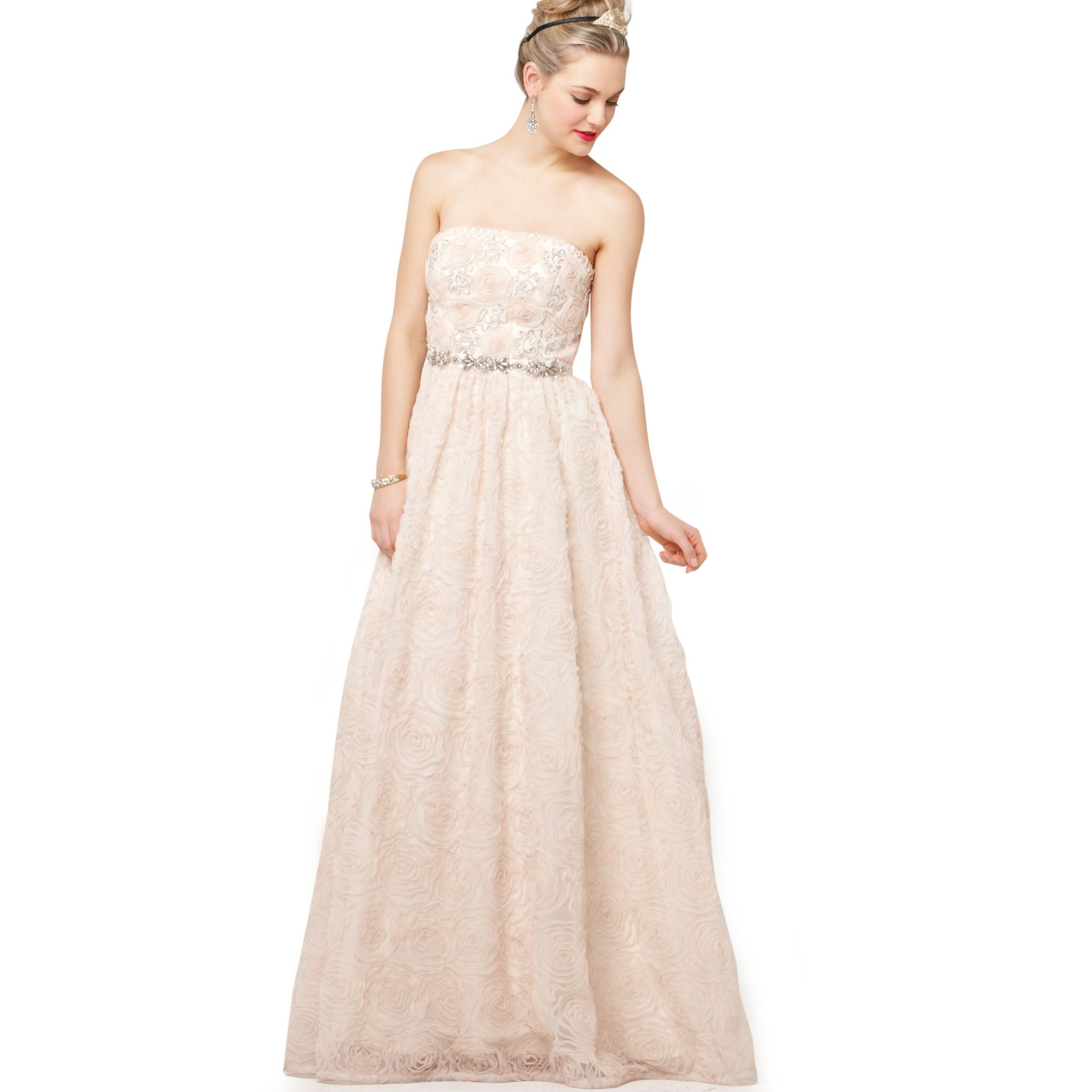 Lyst - Adrianna Papell Strapless Beaded Ball Gown in Brown