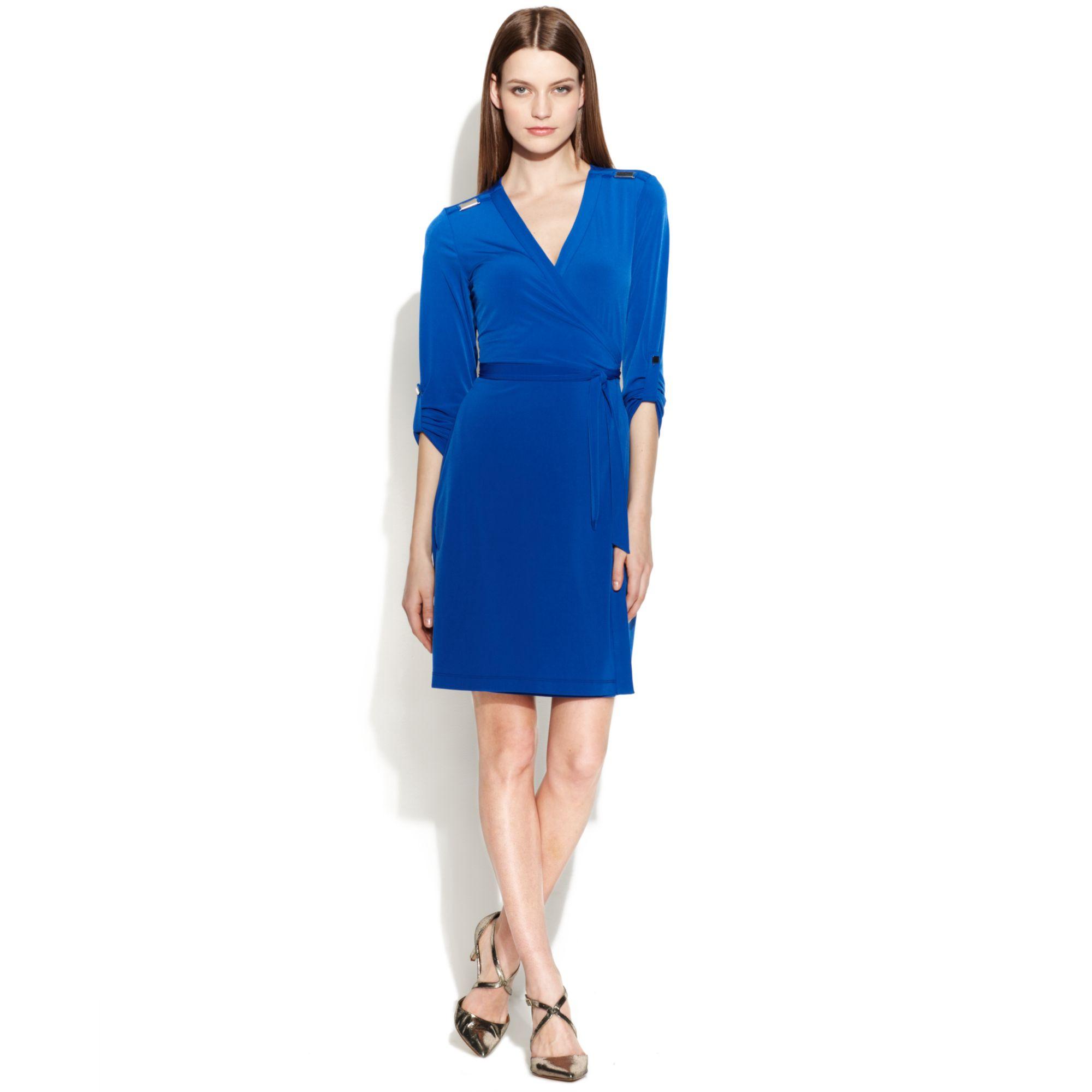 Lyst Calvin Klein Threequartersleeve Wrap Dress In Blue