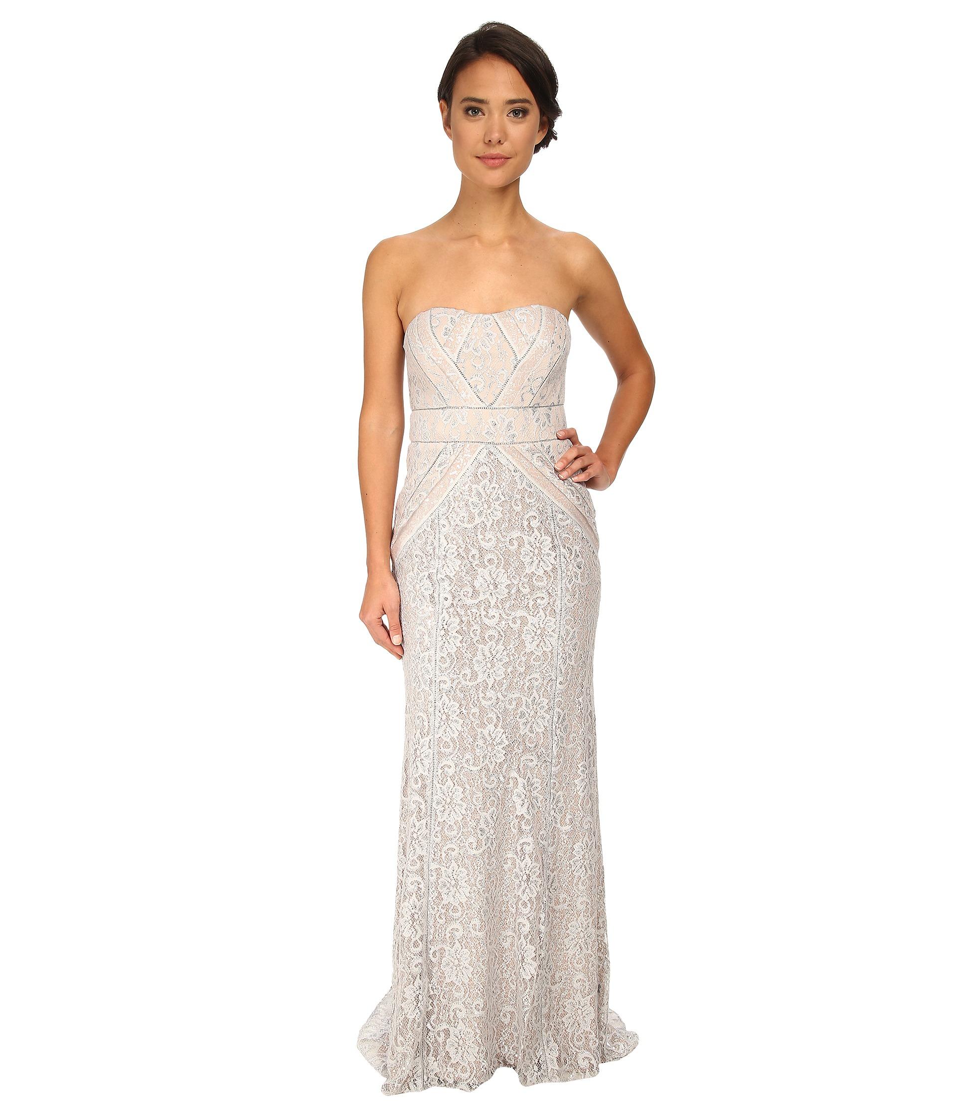 64e0e59c7d90 Lyst - Badgley Mischka Strapless Metallic Lace Runway Gown in Metallic
