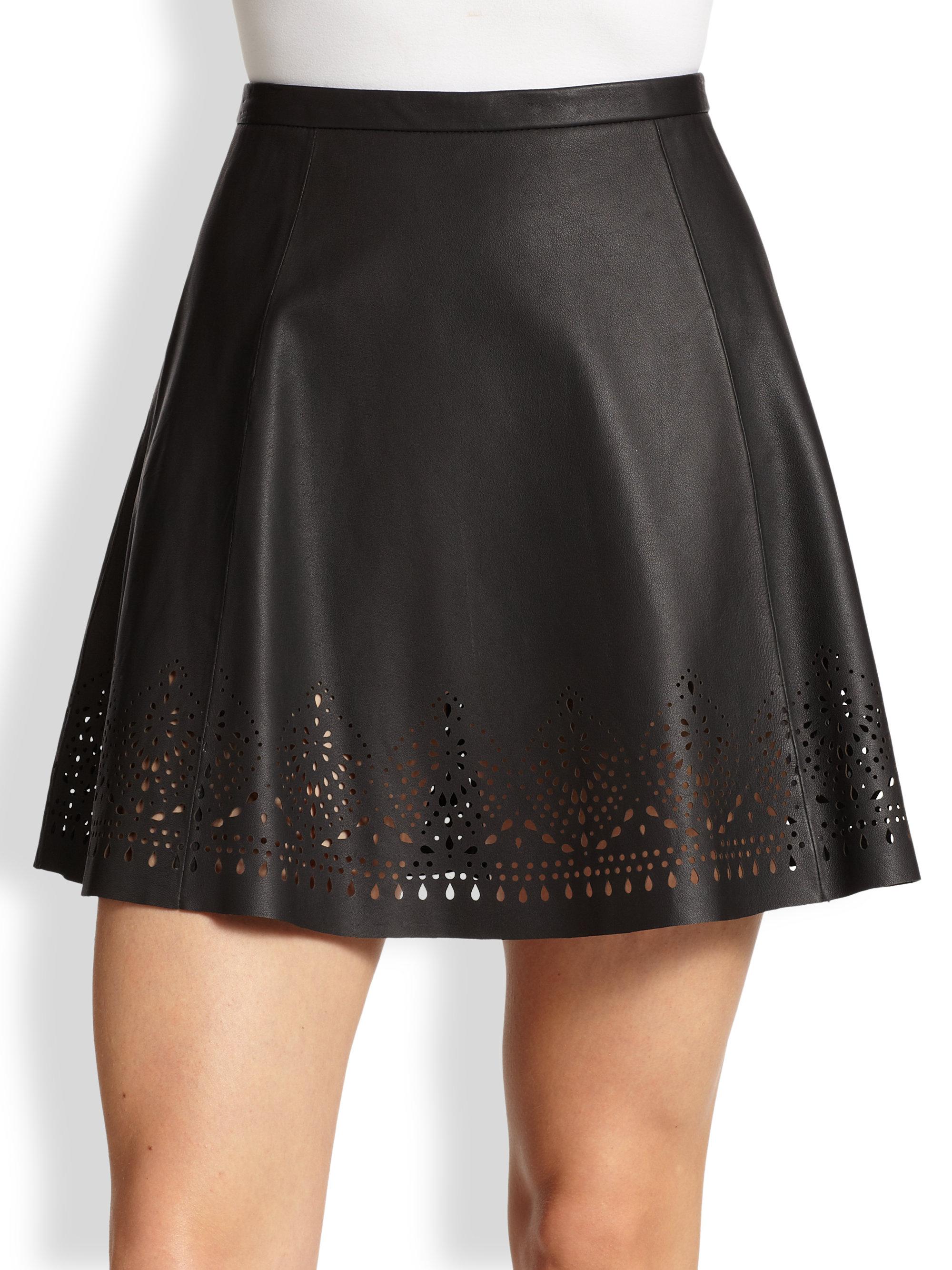 joie senica laser cut leather skirt in black lyst
