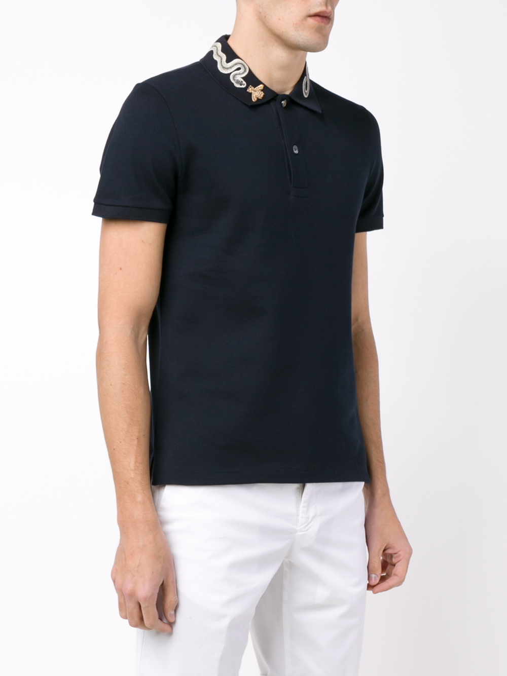 f2c182d22 Gucci Snake And Bee Collar Polo Shirt in Blue for Men - Lyst