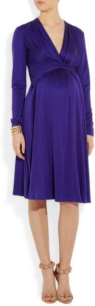 Issa Silk Jersey Wrapeffect Maternity Dress In Purple Lyst