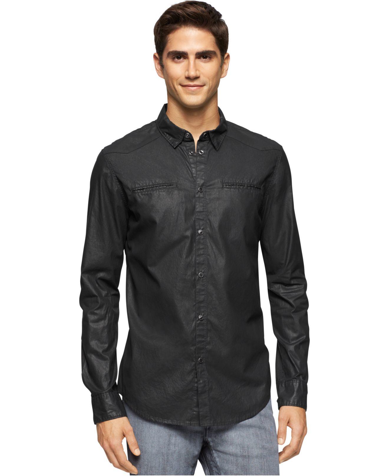 calvin klein jeans coated denim western shirt in black for. Black Bedroom Furniture Sets. Home Design Ideas