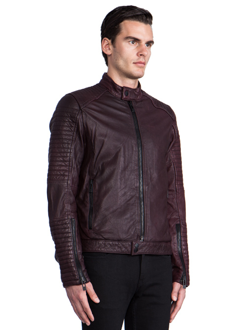 Rogue Leather Jacket In Burgundy In Red For Men Burgundy