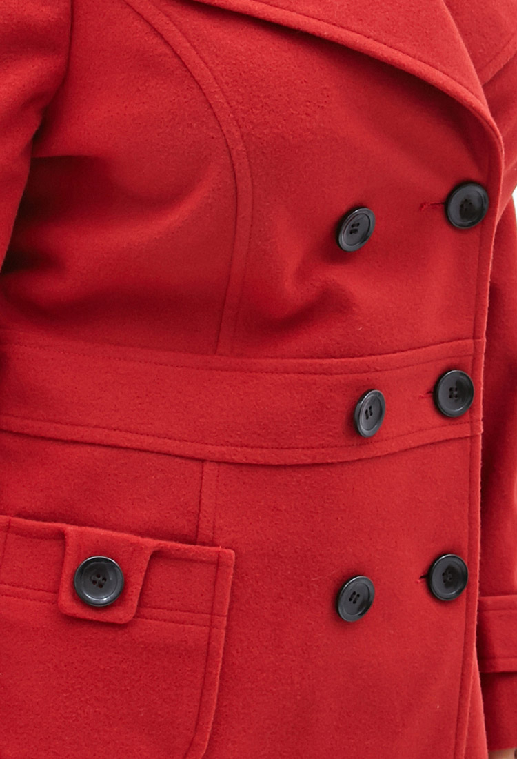 10452078e3d Lyst - Forever 21 Plus Size Classic Pea Coat in Red