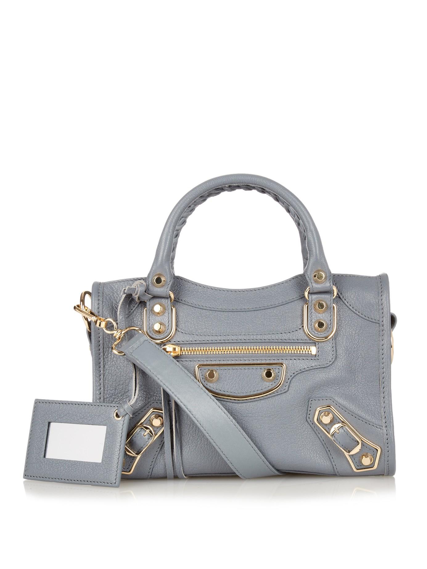 lyst balenciaga classic mini city metallic edge cross body bag in blue. Black Bedroom Furniture Sets. Home Design Ideas