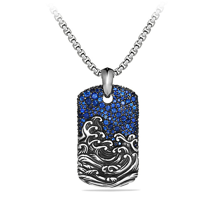 David Yurman Waves Tag Necklace In Blue For Men Lyst