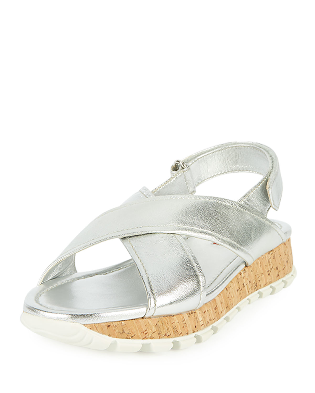 72129321667 Lyst - Prada Metallic Crisscross Cork Flat Platform Sandal in Metallic