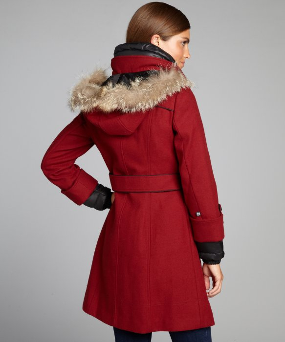Soia & kyo Red Double Breasted Reina Fur Trim Hooded Coat in Red ...