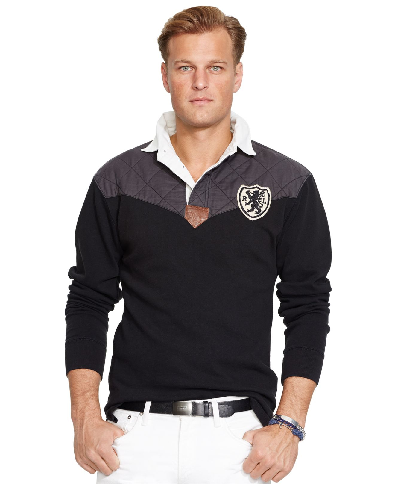 Lyst polo ralph lauren big and tall vintage rugby jersey for Big and tall polo rugby shirts