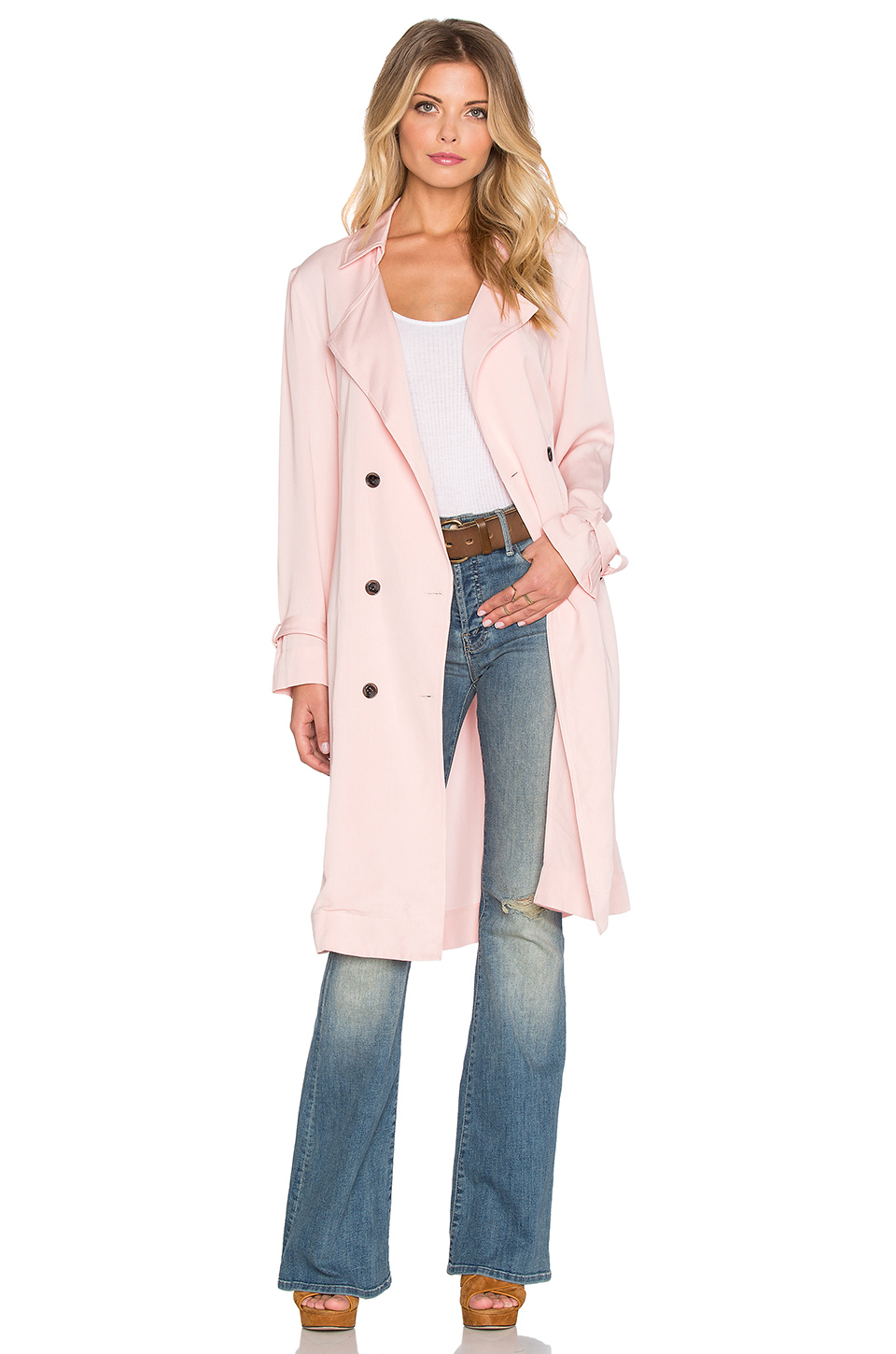Lucca couture Soft Cupro Trench Coat in Pink | Lyst