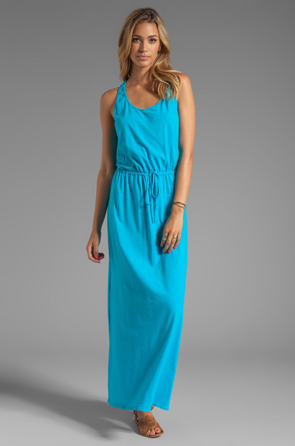 Michael stars Crochet Racerback Maxi Dress in Blue in Blue | Lyst