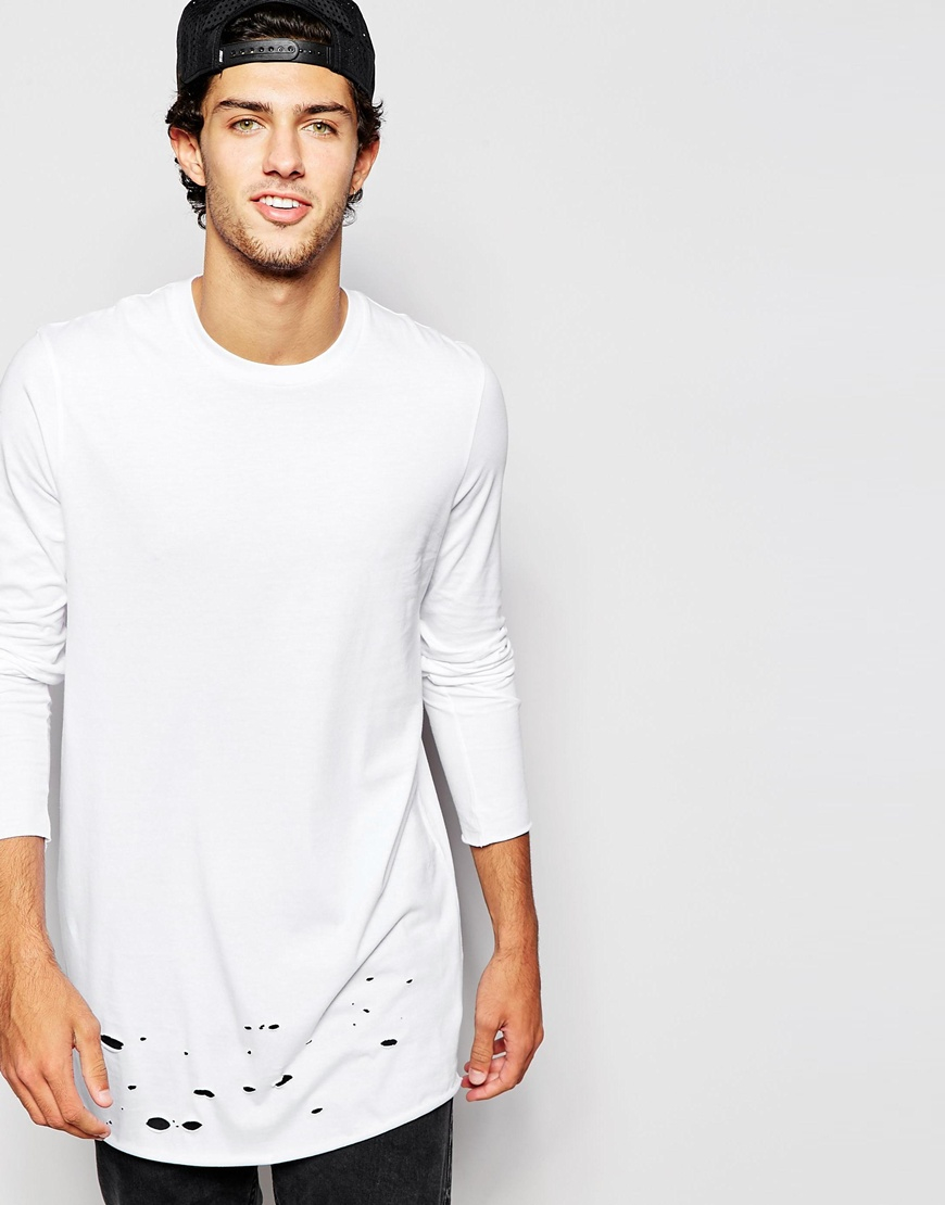 Asos longline long sleeve t shirt with distressed hem in for White cotton long sleeve t shirt