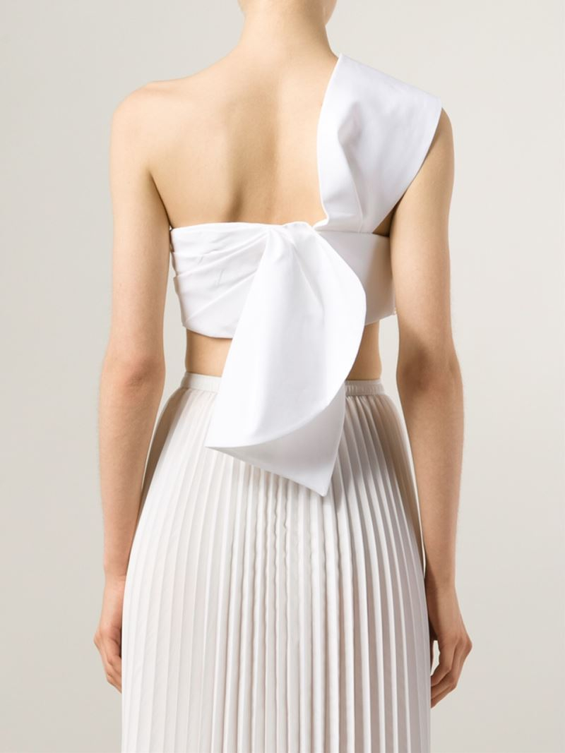 fb20ed3def4 Lyst - Delpozo One-Shoulder Cotton Bandeau Top in White