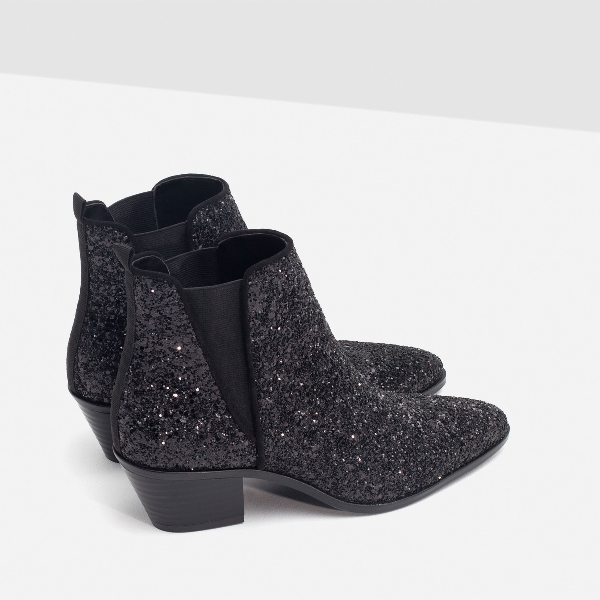 Zara Sparkle Ankle Boots in Black | Lyst