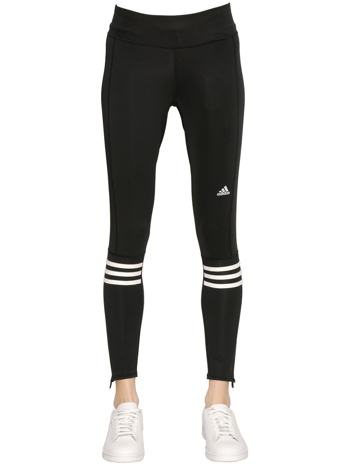 lyst adidas running double knit leggings in black. Black Bedroom Furniture Sets. Home Design Ideas