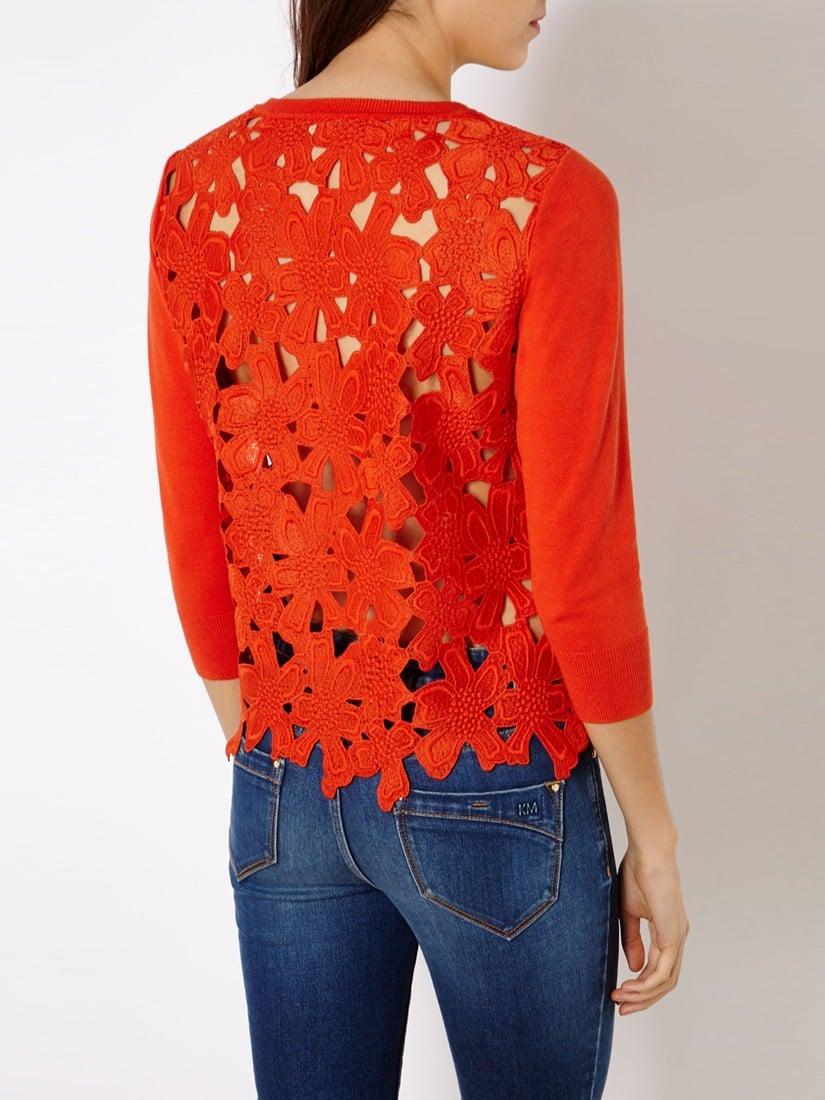 Karen millen Floral Lace Cardigan in Orange | Lyst