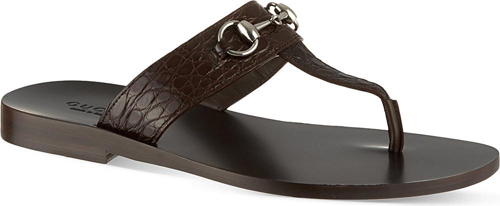 4cf54c50f5d Gucci Ben Horsebit Thong Sandals - For Men in Brown for Men - Lyst