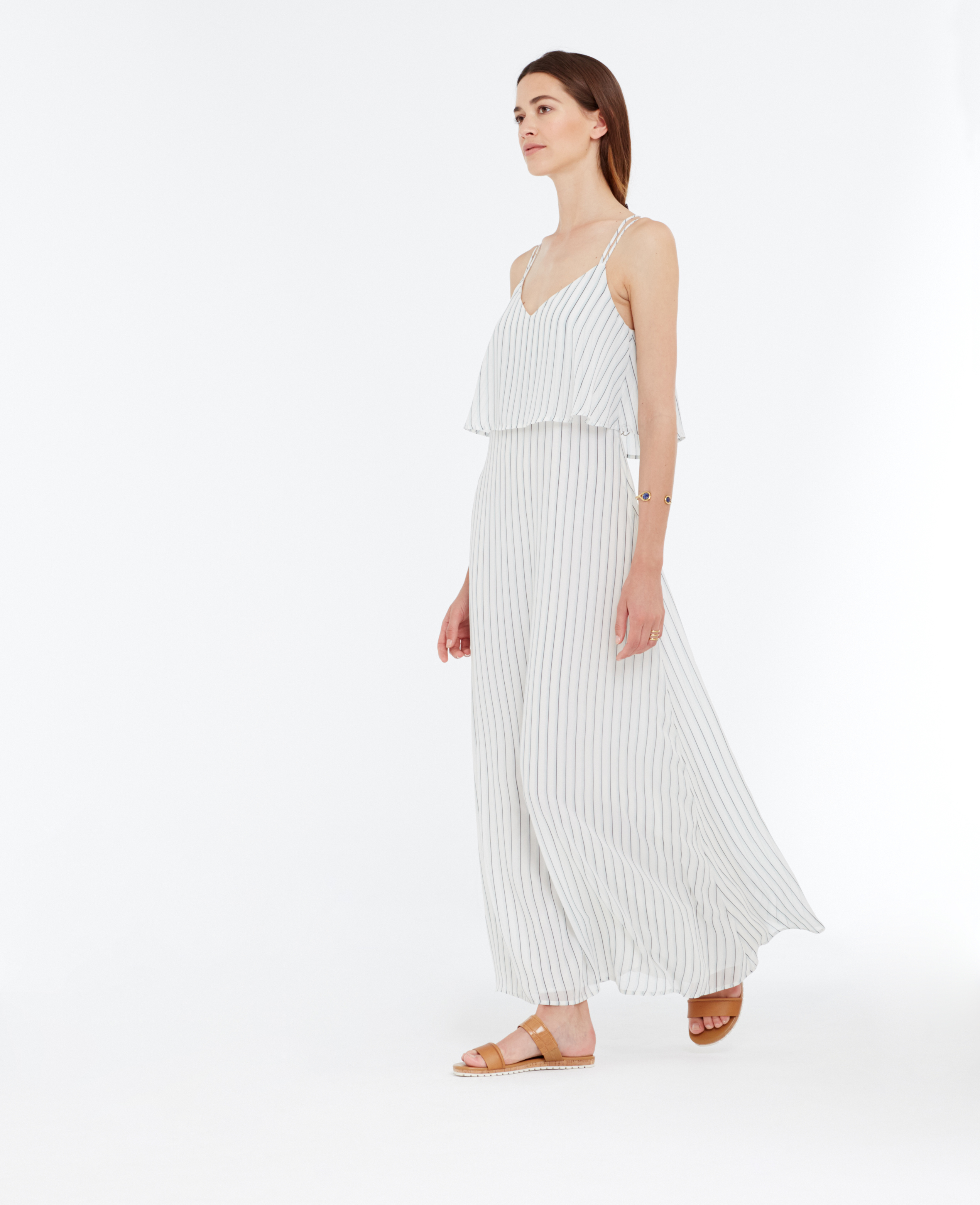 11757351372 Ann Taylor Striped Tiered Maxi Dress in White - Lyst
