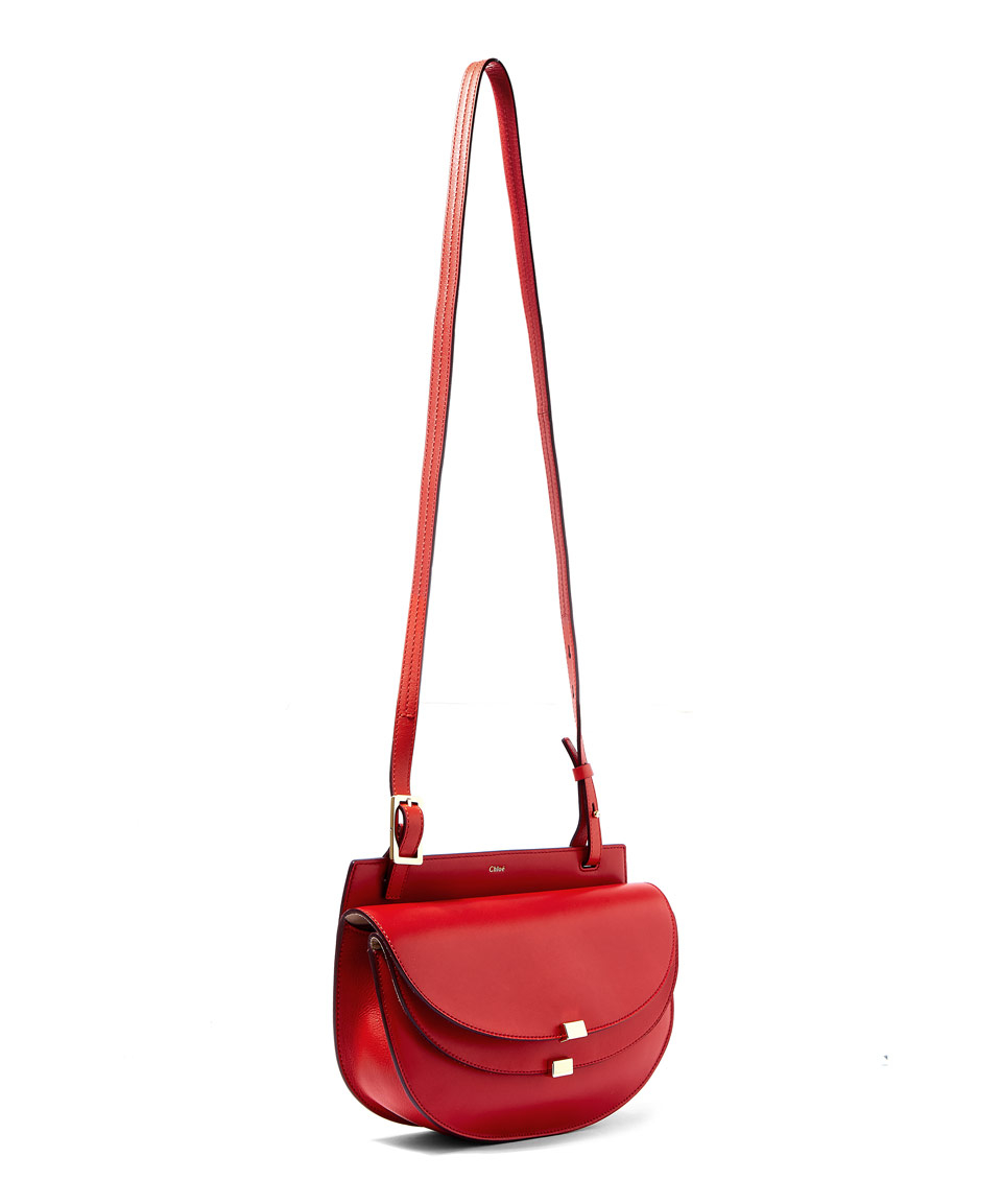 Chlo¨¦ Red Georgia Double-flap Leather Cross-body Bag in Red | Lyst