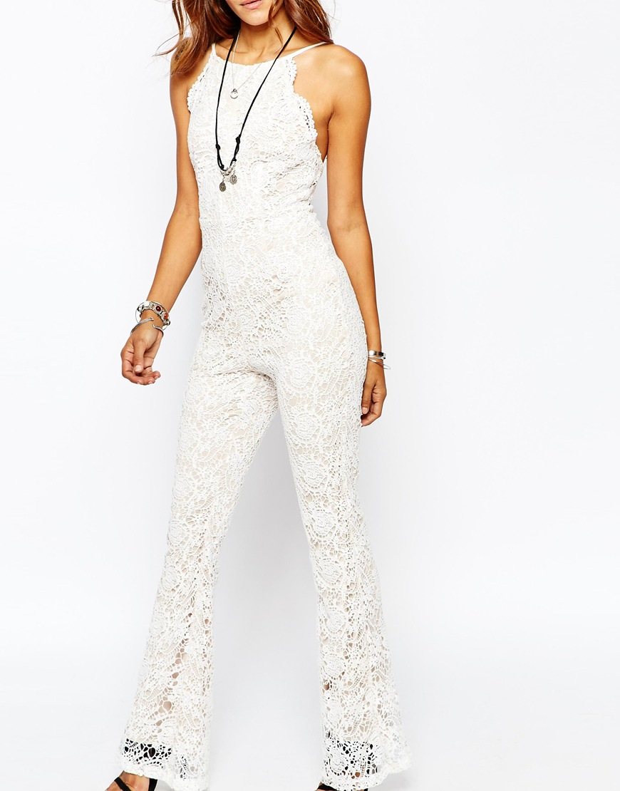 8a156926c8b Lyst - Missguided High Neck Lace Flared Leg Jumpsuit in White