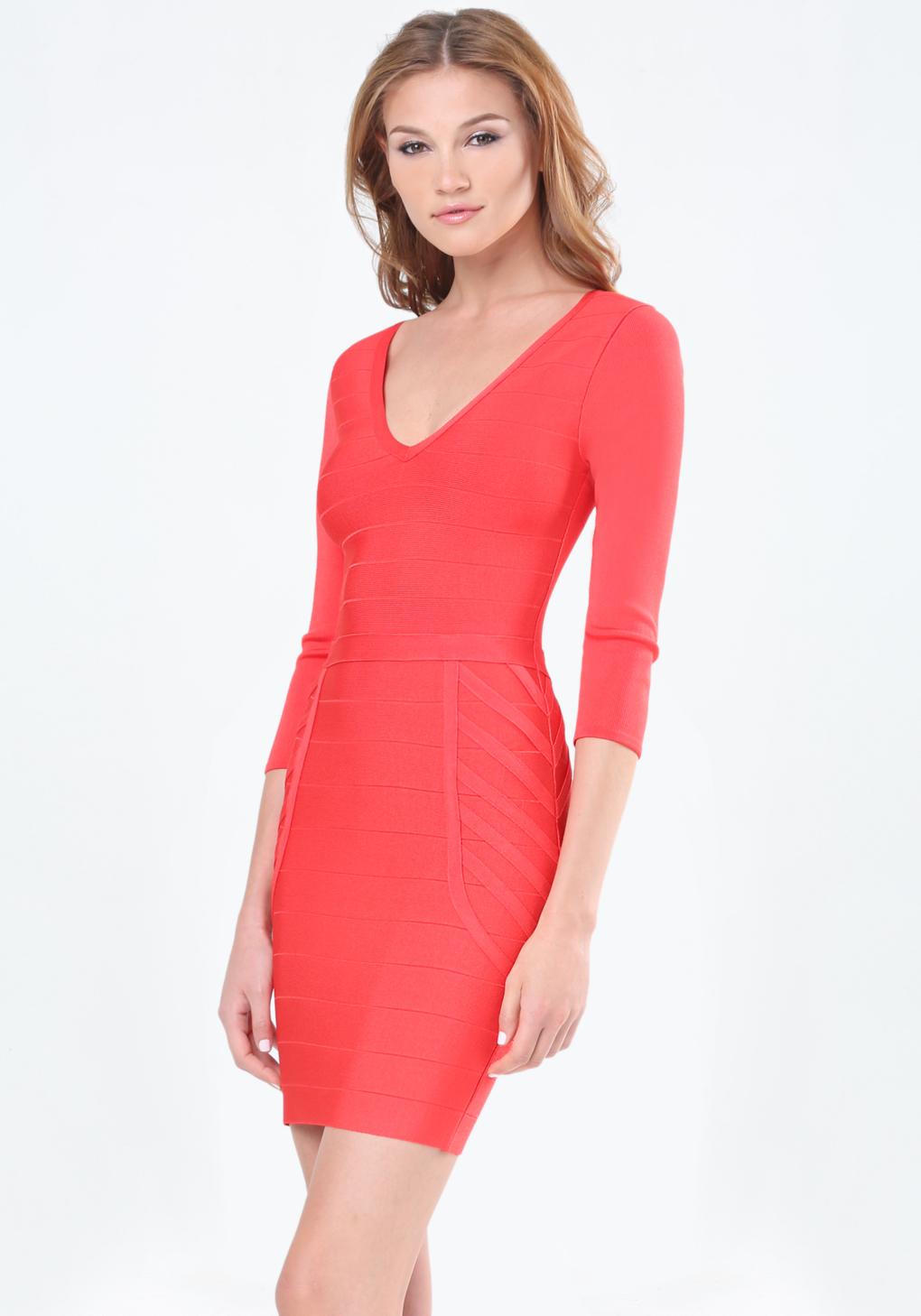 Bebe Deep V Bandage Dress in Red - Lyst