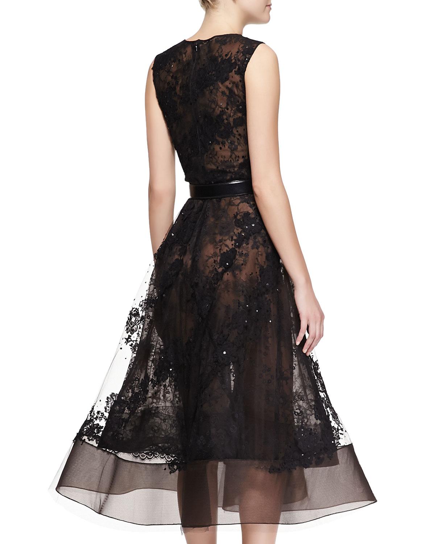 oscar de la renta sleeveless sheer lace beaded dress in