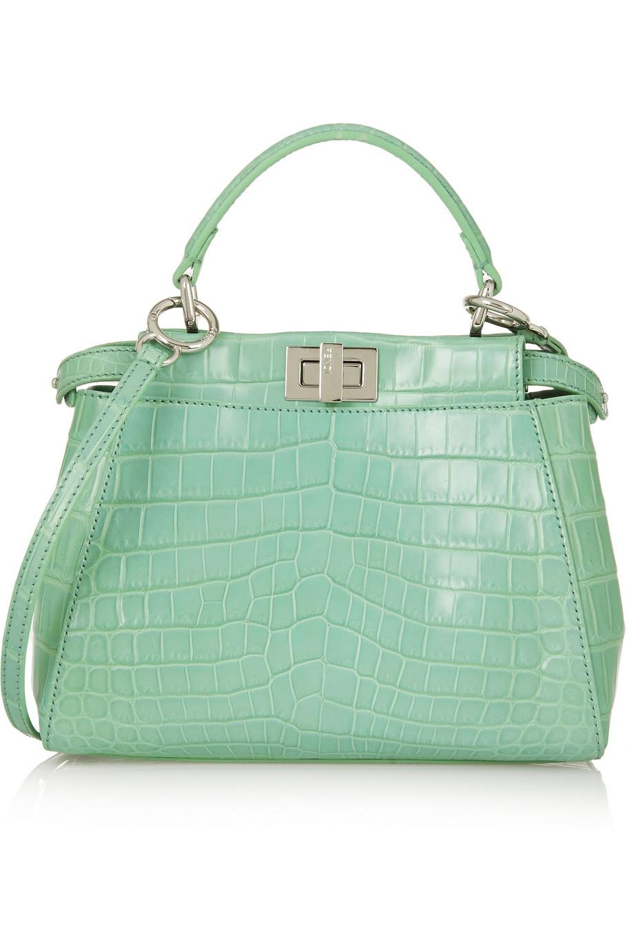 ... new style lyst fendi peekaboo small crocodile tote in green 09989 9a399  netherlands fendi turquoise blue ... 34fa17115ba7b