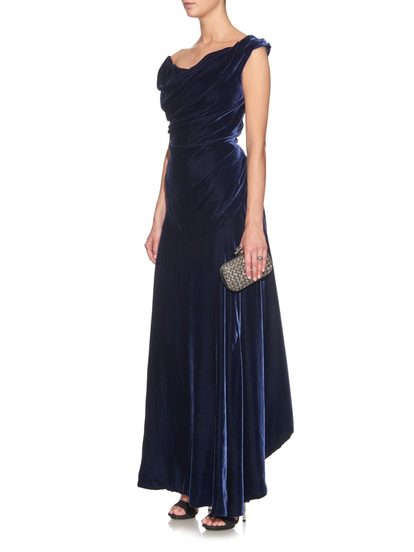 lyst vivienne westwood gold label ginnie off shoulder velvet gown in blue. Black Bedroom Furniture Sets. Home Design Ideas