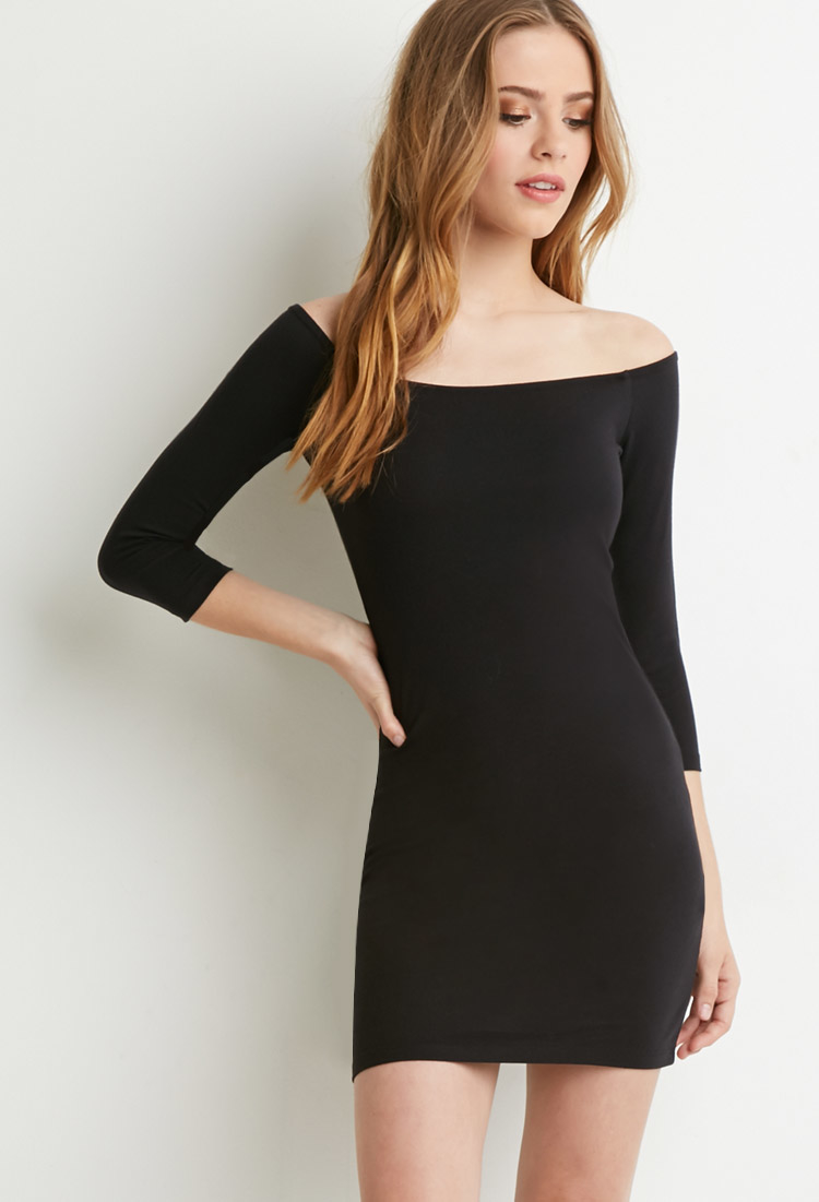 Lyst - Forever 21 Off-the-shoulder Bodycon Dress in Black - photo #30