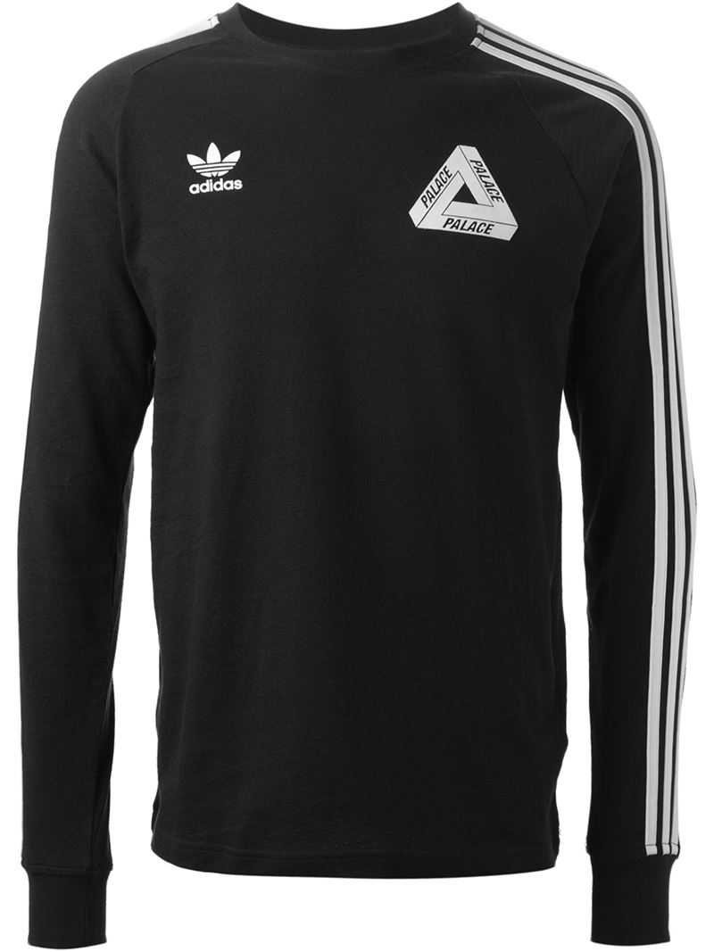 Palace adidas x long sleeve t shirt in black for men lyst for Long sleeve black tee shirts
