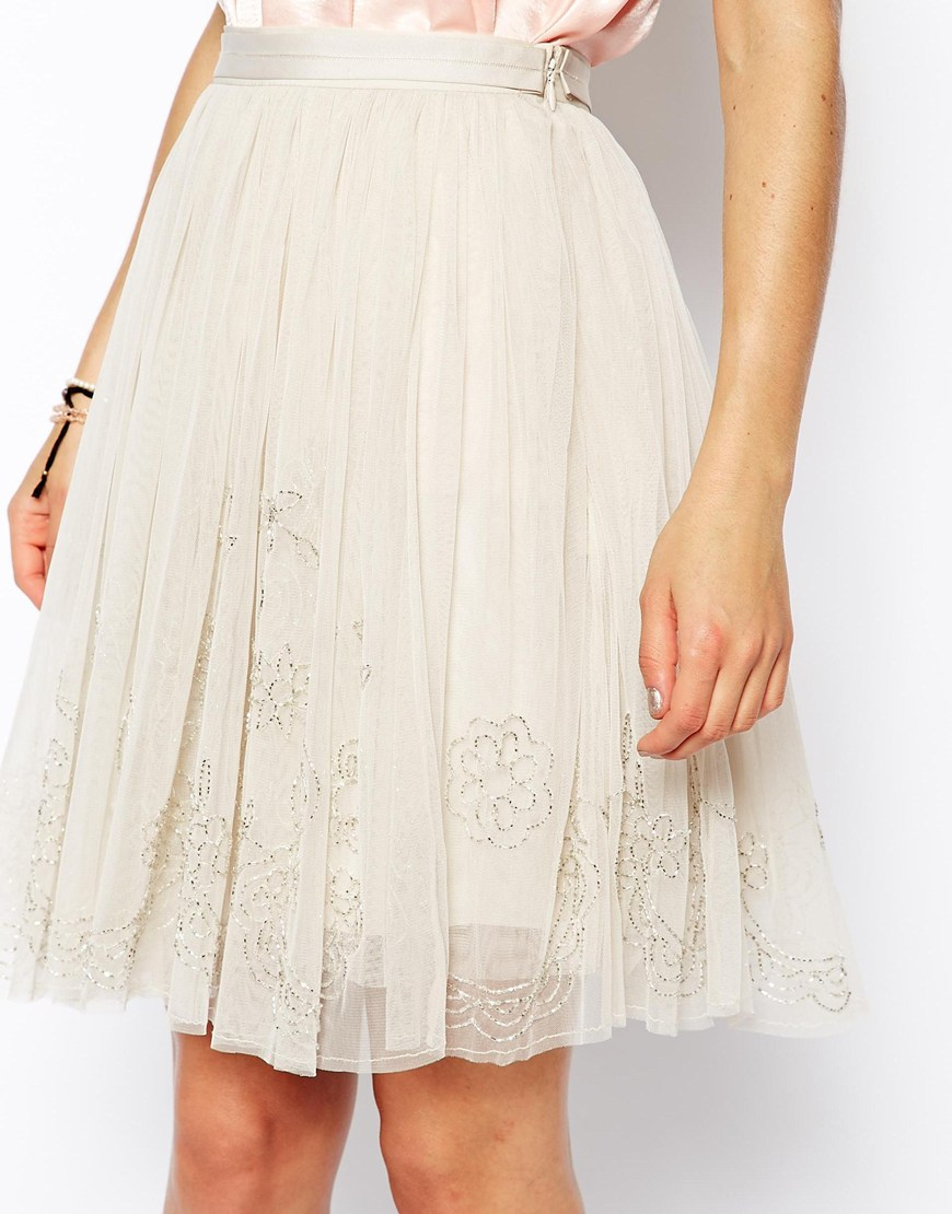 3f820a20bb Needle & Thread Embellished Tulle Skirt in White - Lyst