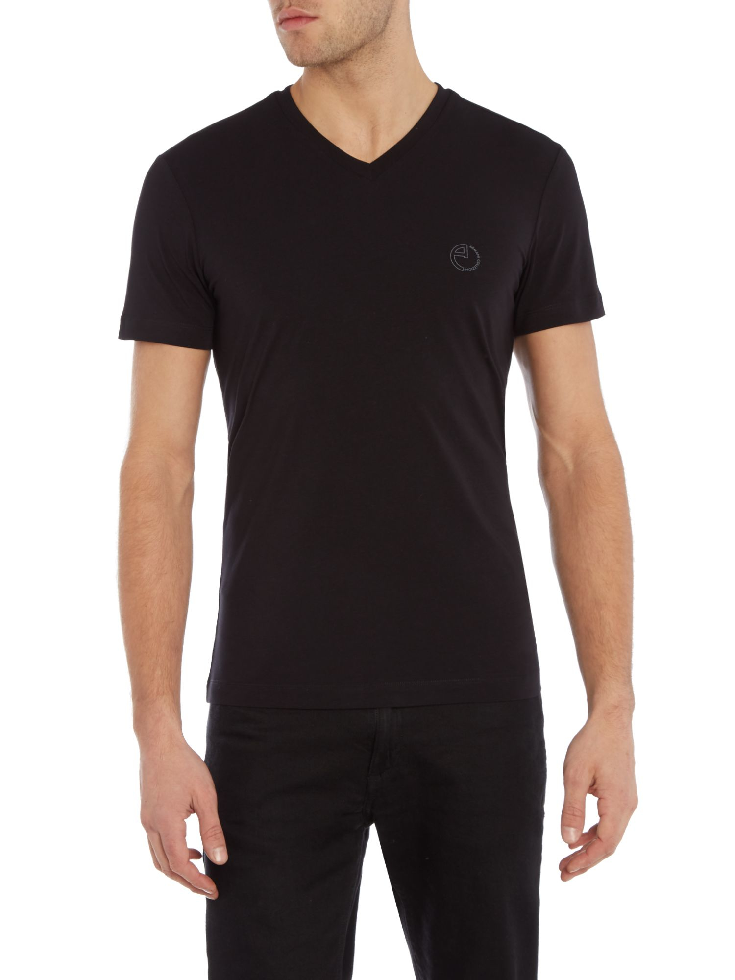 Armani v neck logo t shirt in black for men lyst V neck black t shirt