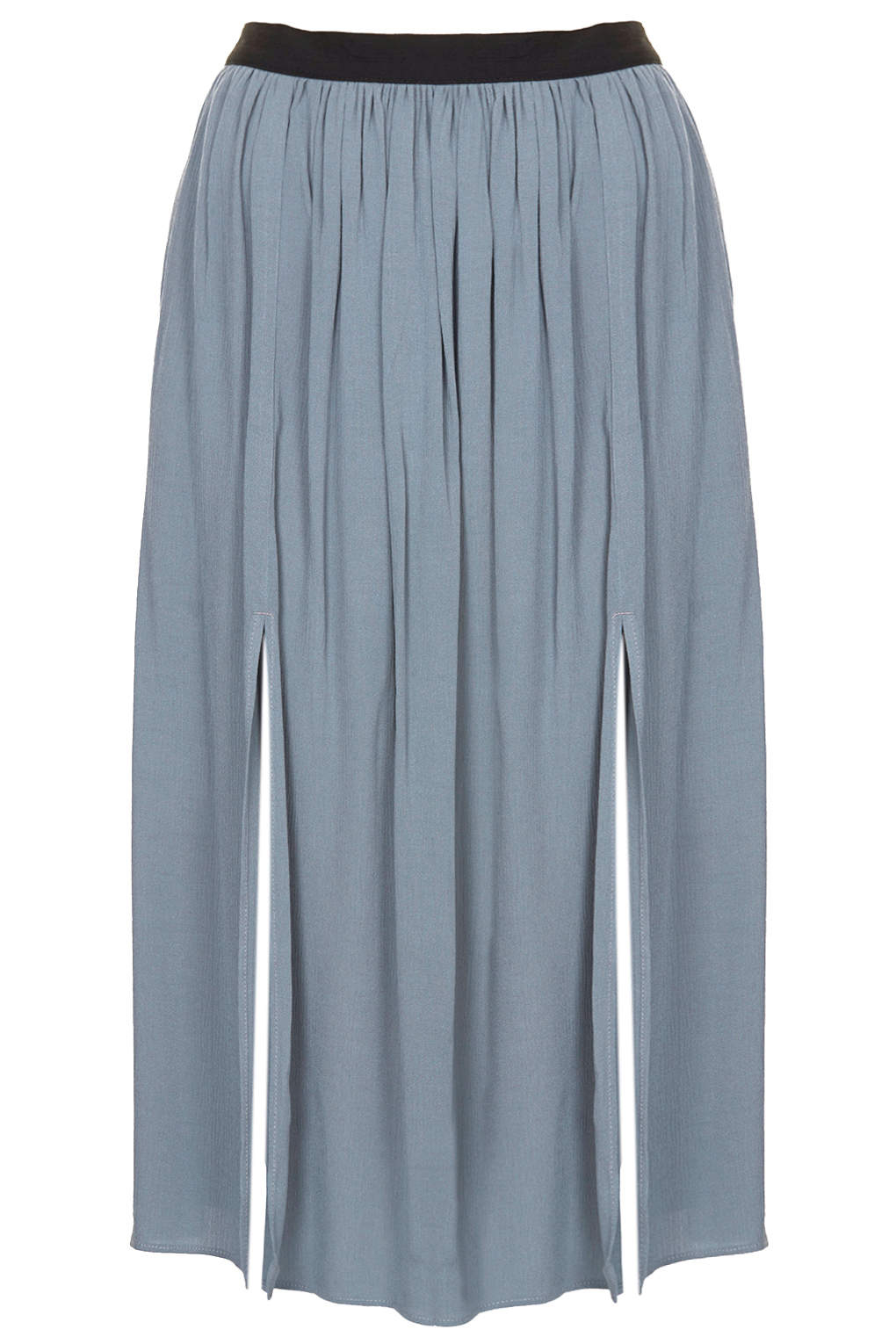 Topshop womens chambray spliced midi skirt chambray in for Womens denim shirts topshop