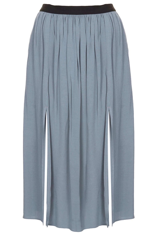 topshop womens chambray spliced midi skirt chambray in