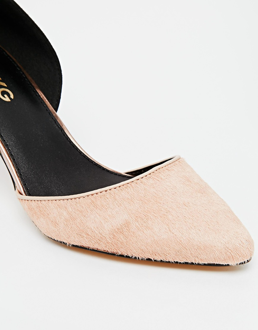 1bc48a25b4bc Lyst - Miss Kg Celina Black Pony Kitten Heel Shoes in Natural
