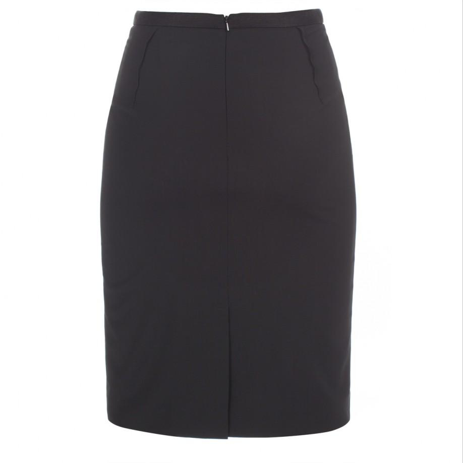 paul smith black stretch wool pencil skirt with textured