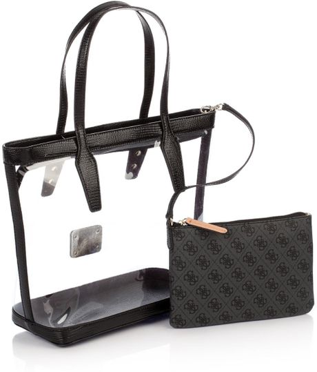Guess Logo Remix Clear Plastic Tote Bag In Black