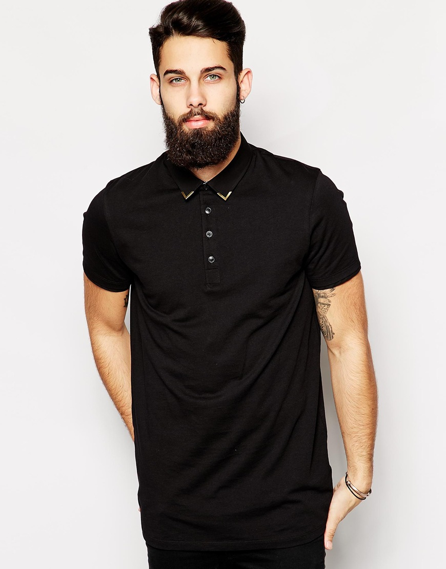 Asos Longline Smart Polo Shirt With Metal Collar Tips in ...