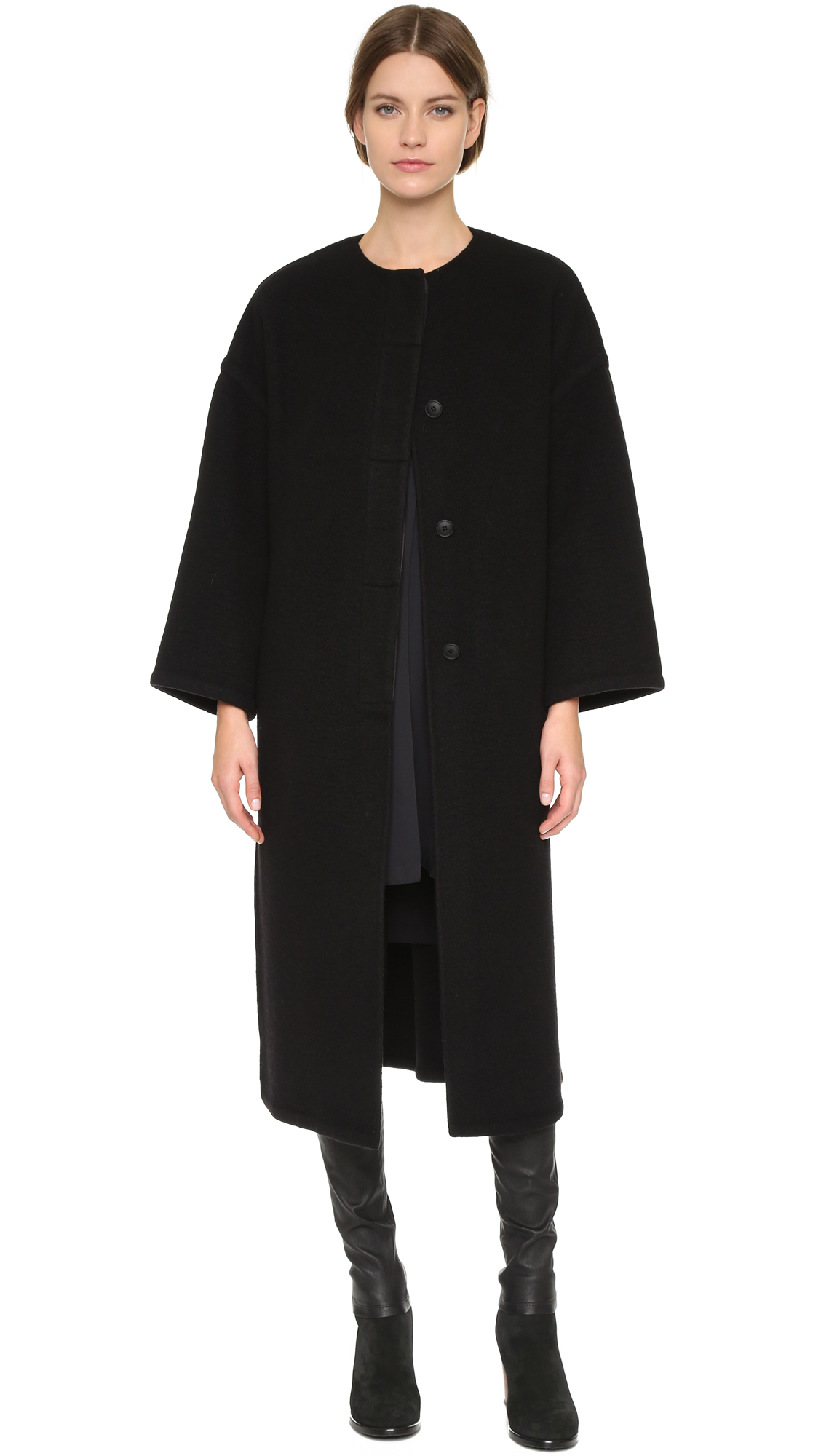 Helmut lang Oversized Cashmere Coat - Black in Black | Lyst