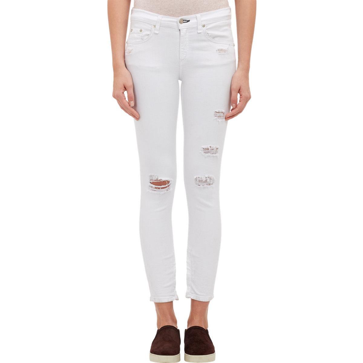 Rag & bone Women's Zip-ankle Capri Jeans in White | Lyst