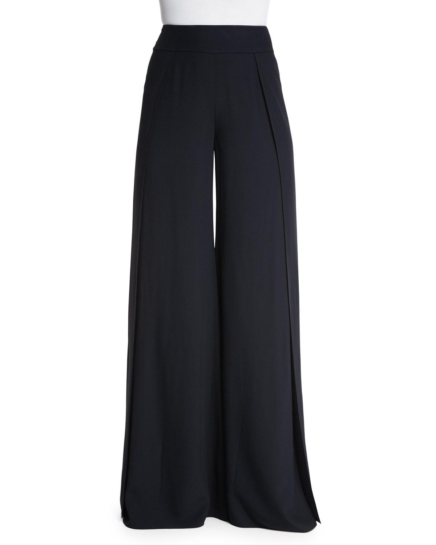 7e84d7b04274e Ralph Lauren Collection High-Waist Wide-Leg Crepe Pants in Black - Lyst