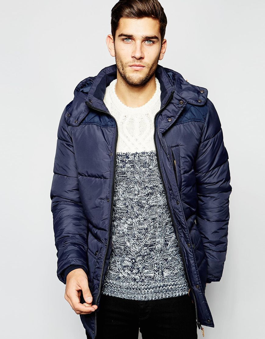 Lyst - Blend Quilted Jacket Hooded Long in Blue for Men : quilted hooded jacket - Adamdwight.com
